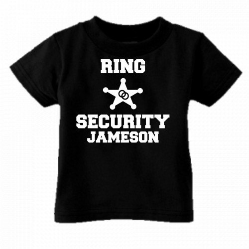 Mariage - Ring security custom kids youth or toddler shirt personalized with name ring bearer wedding black short sleeve