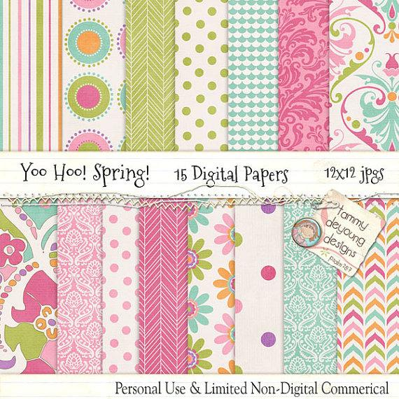 Spring digital papers paisley baby shower groovy girl pink green spring digital papers paisley baby shower groovy girl pink green turquoise blue patterns for invitations birthday weddings greeting cards filmwisefo