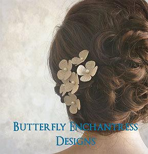 Свадьба - Rustic Hair Flowers, Bridal Accessories, Woodland Burlap Wedding - 6 Burlap Hydrangea Hair Pins - Ivory Yellow Brown and Many Other Colors
