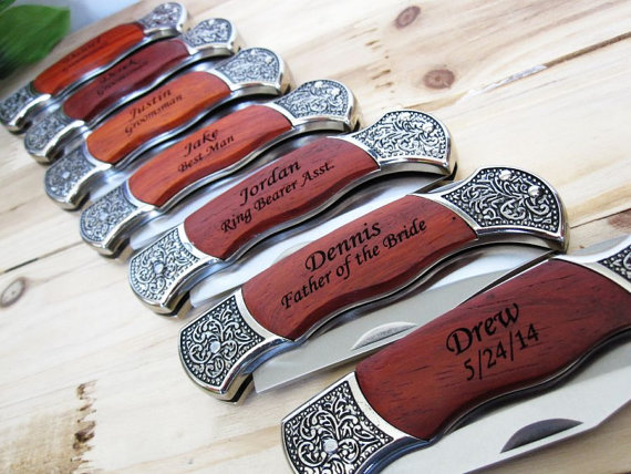 Hochzeit - 8 Personalized Groomsmen Gifts - Custom Engraved Wood Handle Pocket Knife Hunting Knives - Groomsman Best Man Ring Bearer Gift