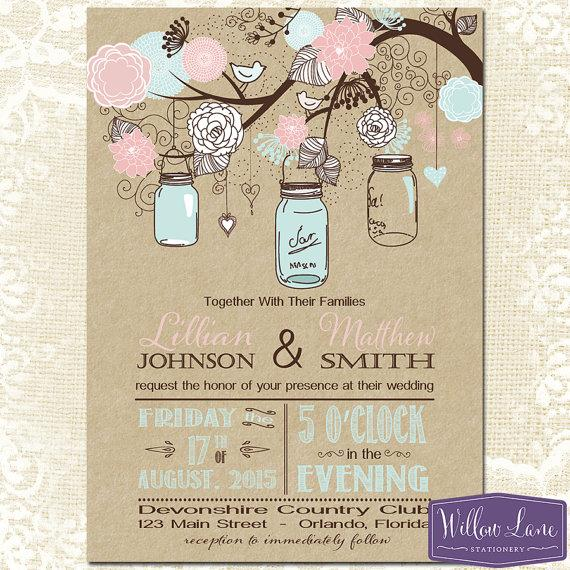 Mason jar wedding invitation kraft pink and blue mason jar wedding invite rustic barn vintage wedding invitation 6114 printable