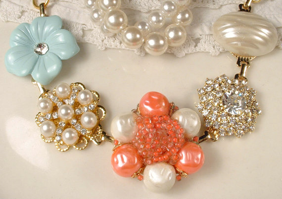 Mariage - Vintage OOAK Coral, Mint Aqua Ivory Pearl & Rhinestone Gold Bridal Bracelet Cluster Earring Bracelet Bridesmaids Jewelry Wedding Gift Rustic