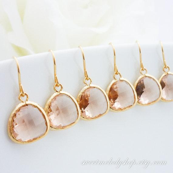 Mariage - 15% OFF SET of 6 Bridesmaid Gift Wedding Jewelry Bridesmaid Jewelry Bridal Jewelry Champagne Gold Drop Earrings Peach Glass Dangle Earrings