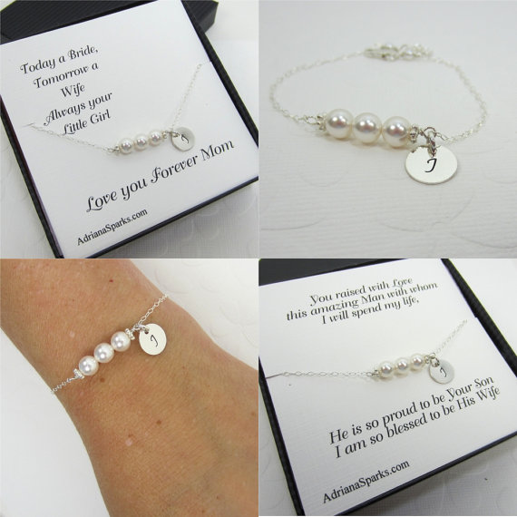 Mother Of The Bride And Groom Personalized Bracelet With Card Set 2 Mom Thank You Bridal Party Jewelry