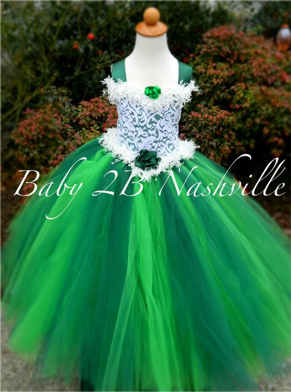 Emerald Flower Dress Christmas Wedding Green Tutu All Sizes S