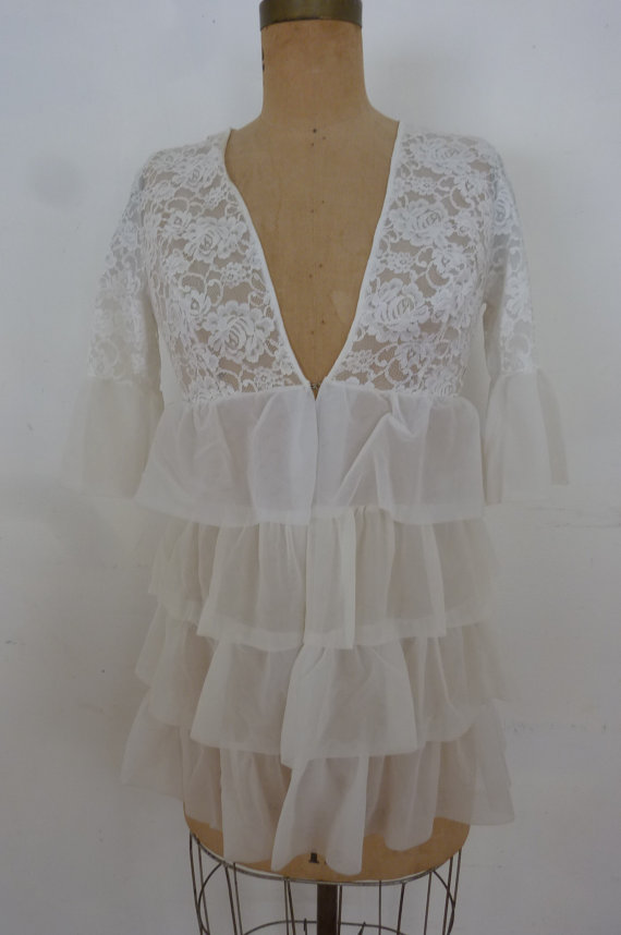 Hochzeit - Vintage Bed Jacket Sheer White Lace Ruffles Lingerie Negligee Robe Flirty Nightie Cover Up Made by Sears Junior Bazaar Size S 1960's