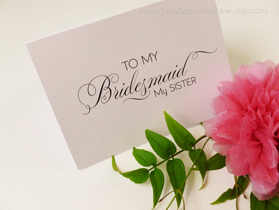 to my bridesmaid my sister wedding thank you card cards for bridal party gifts maid of honor matron flower girl groomsman ring bearer