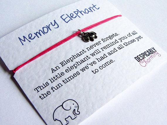 Mariage - Elephant Friendship Bracelet - Memory Elephant - Elephant Wish Bracelet - Bridesmaids gifts