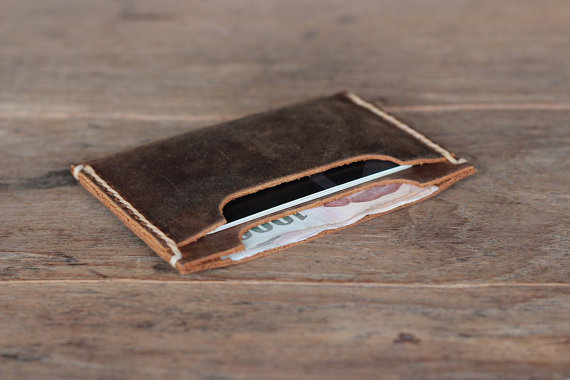 Mariage - Leather Wallet DOUBLE Sleeve - Best Groomsmen Gifts - Holds your cards and a little bit of cash - 009 - Perfect Birthday Present