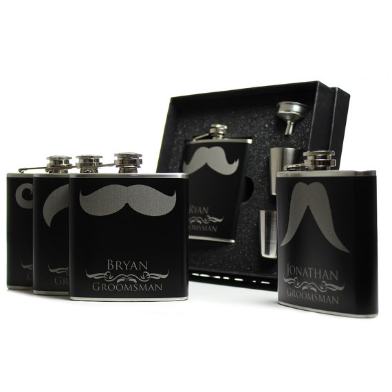 Свадьба - 8, Personalized Groomsmen Gift Flask Sets, Mustache Flasks