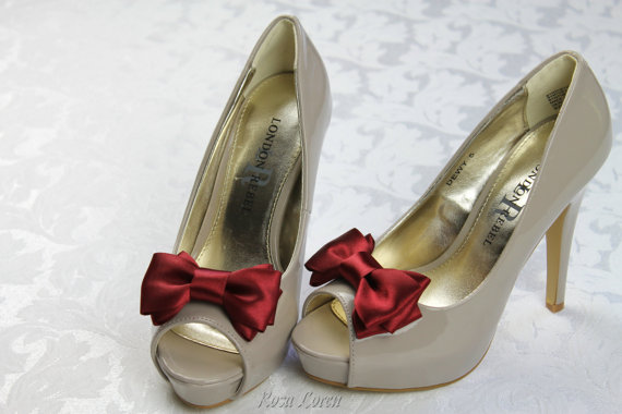 Свадьба - Dark Red Shoe Clip, Dark Red Bow Shoe Clips, Red Wedding Accessories Shoes Clip, Red Bow Clip Shoes
