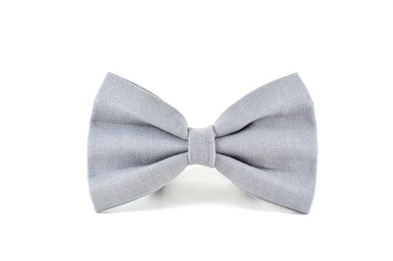 Gray Linen Dog Bow Tie - Slate Grey Detachable Neutral Wedding Dog ...