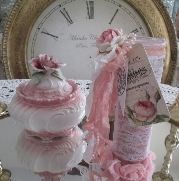 Pink Rose Candle Shabby Chic Home Decor Candle Tall Pink Prayer Candle Rose  Scent French Seam Binding Lace Vintage Rose Tag Pink Paper Rose