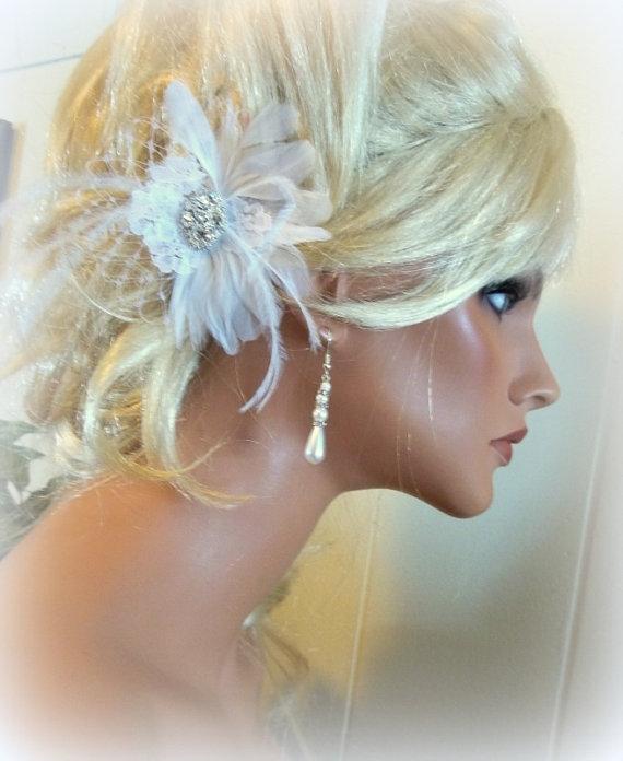 Wedding - Wedding White or Ivory Vintage style bridal hair fascinator,feathers french net,lace rhinestone jewel bridal hair clip 3 inch