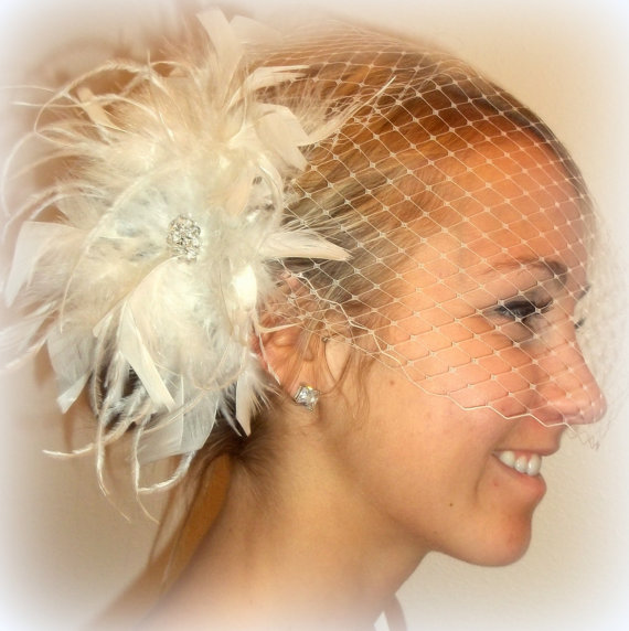 Wedding - Wedding Feather Bridal Hair Fascinator and Bandeau French Net Bridal Veil, feather fascinator white or ivory