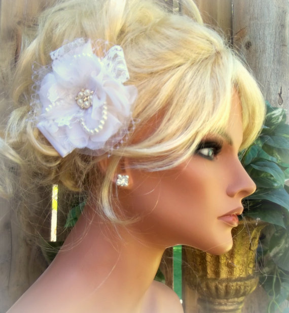 Wedding - Wedding Bridal Fancy Fascinator, Pearls Rhinestones, French Net, Lace, Bride, Bridesmaids, Flowergirl, Hair Clip Etsy Custom Made