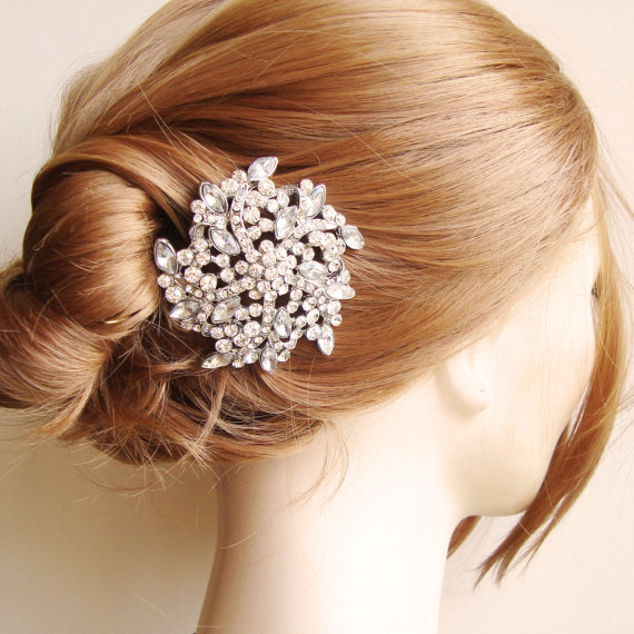 زفاف - Bridal Hair Comb, Crystal Flower Bridal Hair Piece, Rhinestone Bridal Head PIece, Vintage Style Garden Wedding Hair Accessories, LENA