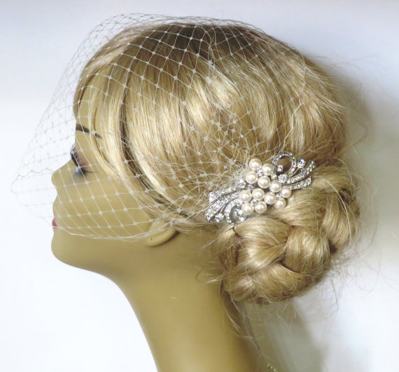 Wedding - Birdcage Veil and a Bridal Hair Pearls Comb (2 Items)Pearl Bridal Comb,bridal headpiece,Blusher Bird Cage Veil,Rhinestone,Bridal Jewelry