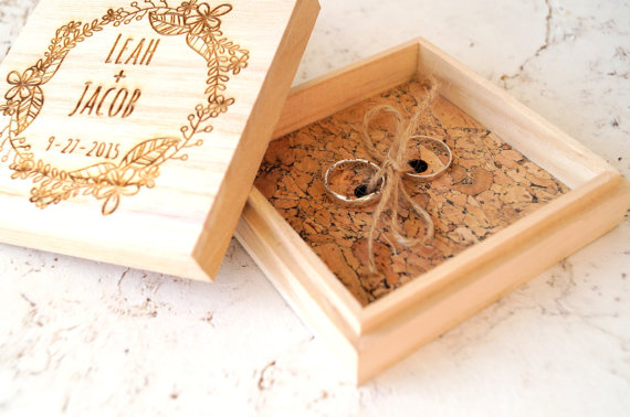 Ring Bearer Box Personalized Ring Box Rustic Wedding Ring Bearer