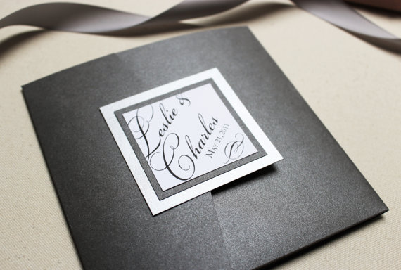 silver wedding invitation formal invite black tie wedding once charmed pocketfold sample - Black Tie Wedding Invitations