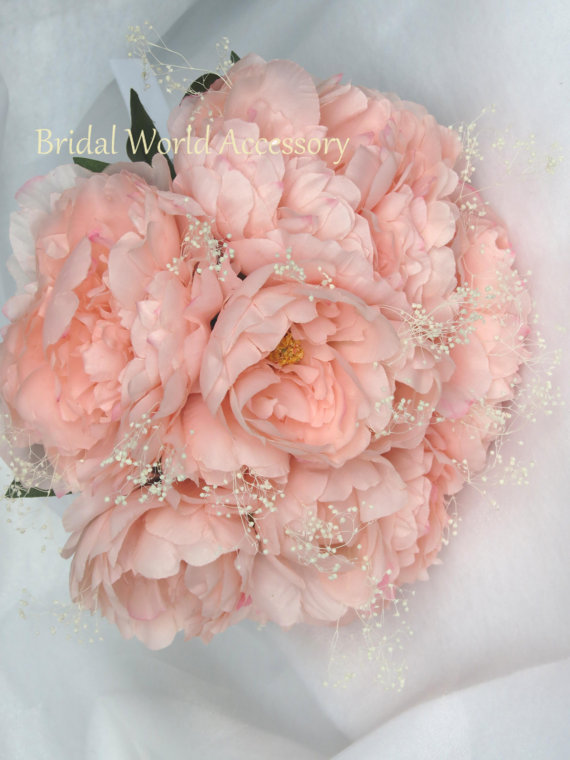 Hochzeit - Wedding Accessory Wedding Bridal Bouquet Silk Flowers Peony Pink Peony Bridal Accessory