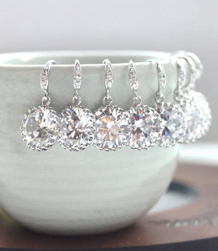 Hochzeit - 15% OFF. Set of 6, Six Pairs Wedding Earrings. A Round Cubic Zirconia White Silver Plated Earring. 6 Wedding Bridal Bridesmaid Earrings