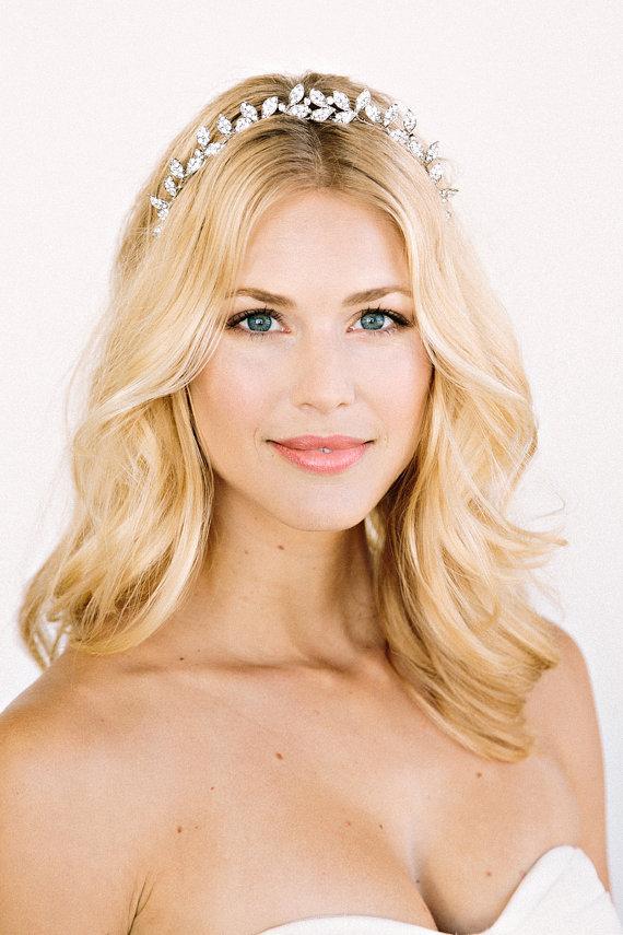 ALEXIS Headband- Crown, Halo, Floral, Bridal, Rhinestone, Crystal ...