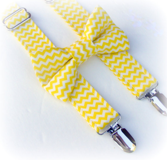 زفاف - Yellow Chevron Bow Tie and Suspenders - Baby Suspenders and Bowtie - Toddler Boys Suspenders - Photo Prop - Wedding - Ring Bearer-Smash Cake