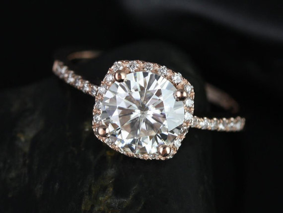 Mariage - Barra 8mm Rose Gold Round FB Moissanite and Diamonds Cushion Halo Diamond Engagement Ring (Other metals and stone options available)