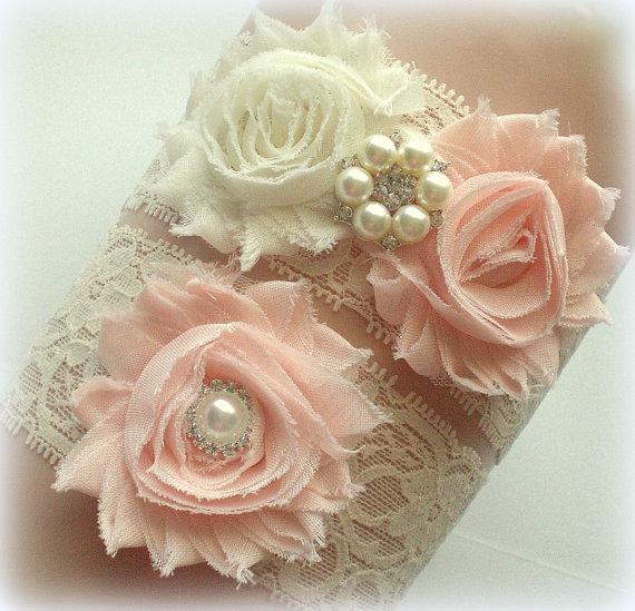 Hochzeit - Beautiful BLUSH Bridal Garter Set - Ivory Keepsake & Toss Wedding Garters - Chiffon Frayed Flowers Rhinestone Garters - White Ivory Lace
