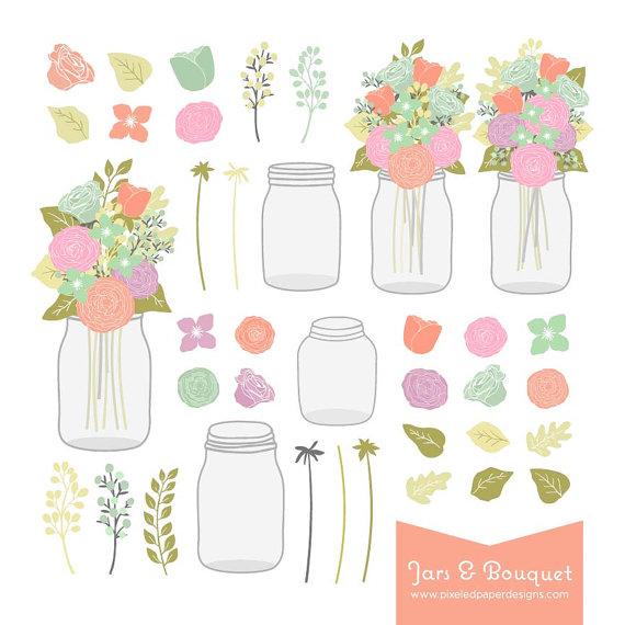 زفاف - Mason Jar & Flower Bouquet Digital Clipart. Graphics for Wedding Invites, Photography, DIY