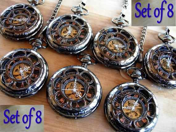 Hochzeit - Set of 8 Pocket Watches with Chains Personalized Gunmetal Black Groomsmen Gift Ships from Canada