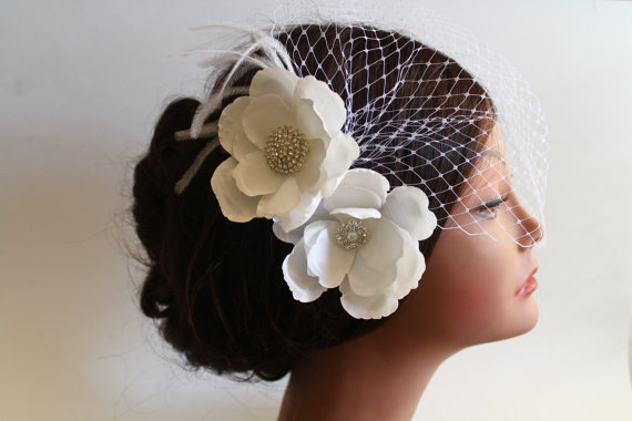 Hochzeit - Birdcage Bandeau Veil, Ivory Flower Birdcage Veil and Fascinator, Head Piece, Wedding Accessories, Ostrich Feathers and Rhinestone Brooch