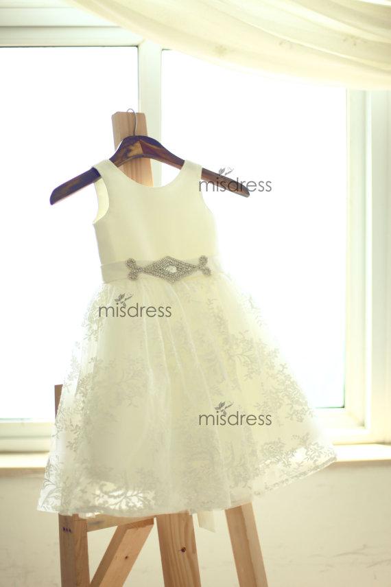 Wedding - Satin Lace Flower Girl Dress/Beaded Sash Belt Wedding Easter Junior Bridesmaid Baptism Baby Infant Children Toddler Kids Dress