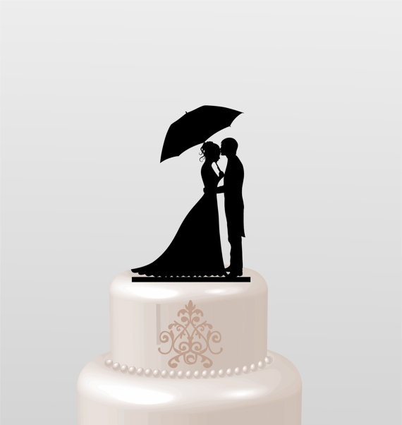 زفاف - Wedding Cake Topper Silhouette Groom and Bride, Acrylic Cake Topper