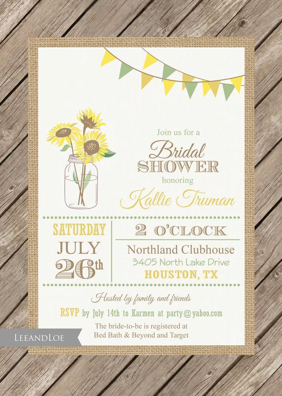 Sunflower bridal shower invitation rustic burlap mason jar sunflower bridal shower invitation rustic burlap mason jar wedding filmwisefo