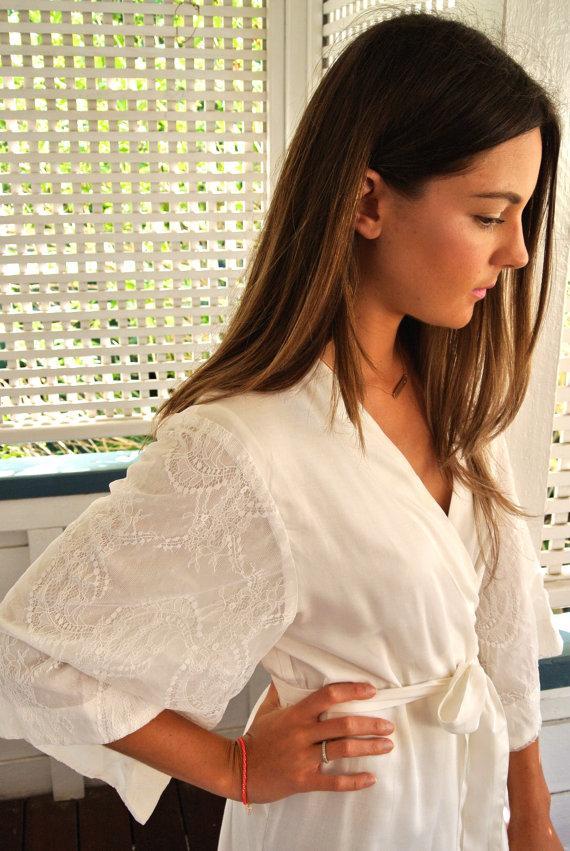 Mariage - Lace Sleeve - Ivory Long Kimono Robe - Wedding Robe - Bridesmaid Robe