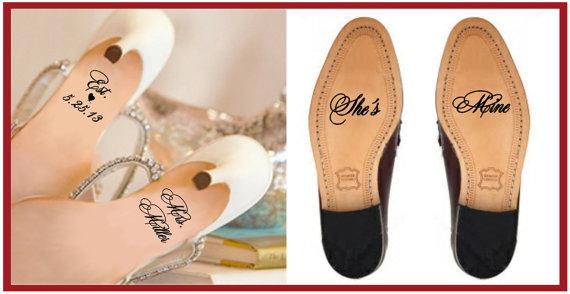 Свадьба - Wedding Shoe Decal / Wedding Shoe Sticker / Personalized Wedding Decal / Personalized Wedding Sticker