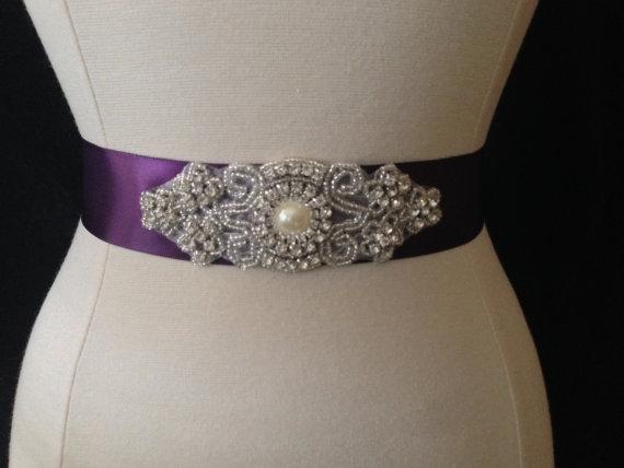 Свадьба - Bridal Sash - Wedding Dress Sash Belt - Plum Purple Rhinestone Sash - Purple Rhinestone Bridal Sash