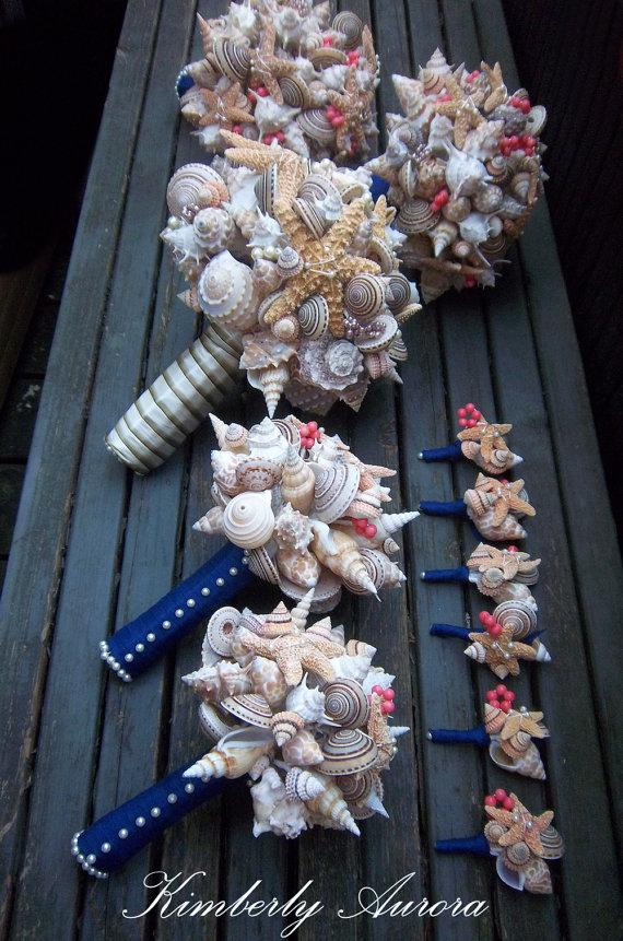 Mariage - Beach Wedding Bouquets for Bride and Wedding Party (Sandy Sugar Starfish Style). Made to Order with Custom Details