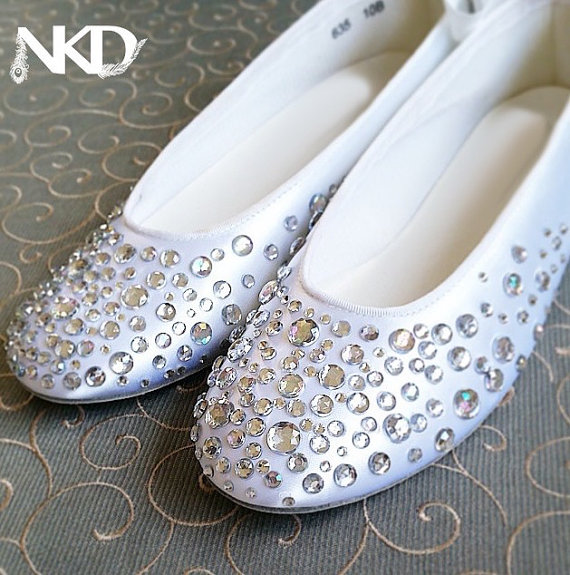 Rhinestone Ballerinas, Crystal Slipper Sparkle Shoes , NkD