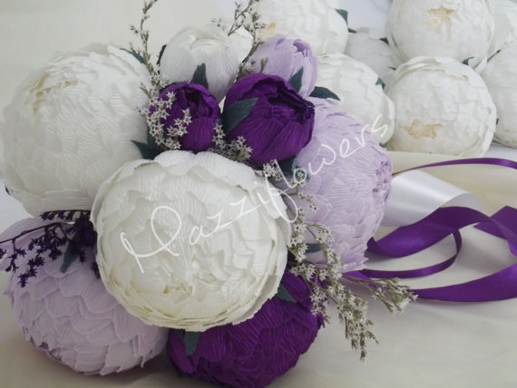 زفاف - Bridal bouquet,wedding bouquet,paper flower bouquet,peonies purple,bridal flower,bouquet wedding.
