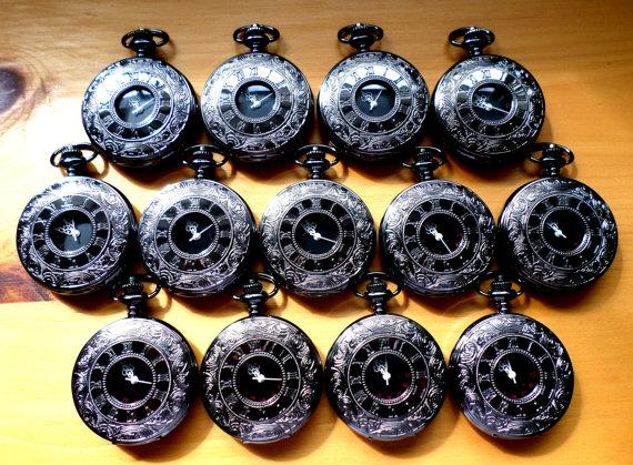 Свадьба - Pocket Watch Set of 12 Black Onyx Quartz and Vest Chains Groomsmen Gift Wedding Party Clearance Ships from Canada