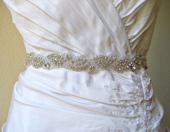 Mariage - Sale 20% off.  Bridal sparkly beaded crystal rhinestone wedding sash/belt.  CRYSTAL WAVES