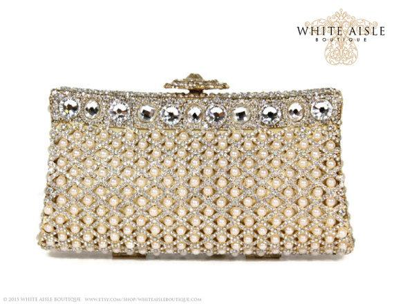 Mariage - Pearl Bridal Clutch, Crystal Clutch, Gold Minaudiere, Wedding Purse, Evening Bag, Luxury Clutch, Rhinestone Clutch