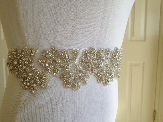 Hochzeit - Flower Rhinestone Sash,Bridal Sash,Wedding Belt sash, Unique Swarovski Crystal Bridal Sash,Best Seller Beaded Bridal Sash,Luxury Wedding