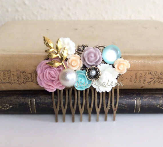 Hochzeit - Pastel Wedding Decor For Hair Accessories Bride Hair Comb Bridal Headpiece Woodland Bridesmaids Rustic Mauve Pink Blue Gold Ivory Flower