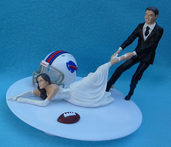 زفاف - Wedding Cake Topper Buffalo Bills G Football Themed w/ Garter, Display Box