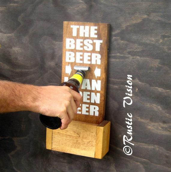 Beer Sign Bottle Opener with Easy to Empty Cap Catch- groomsmen gift idea
