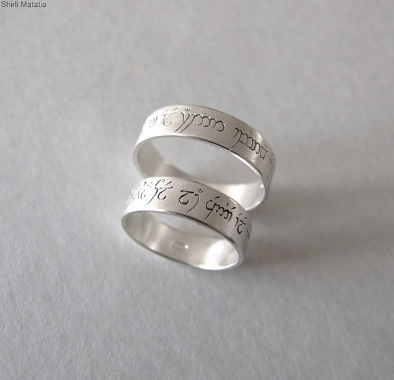 Свадьба - Two Silver Elven Love Rings - wedding bands , lord of ther rings jewelry , engagement rings , fantasy , elves , engraved rings , silver ring